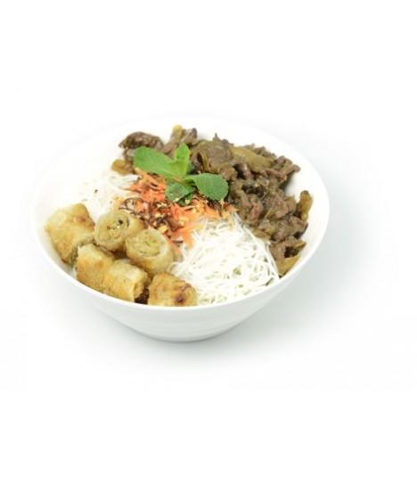A12 BoBun Vermicelles de riz,  boeuf aux oignon,  accompagne de nâms au poulet